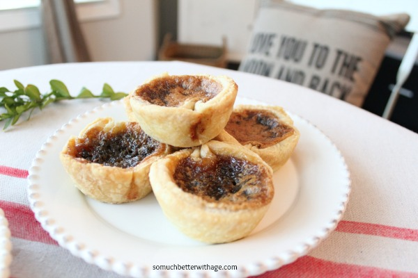 Best butter tart recipe ever / five tarts on a plate - So Much Better With Age