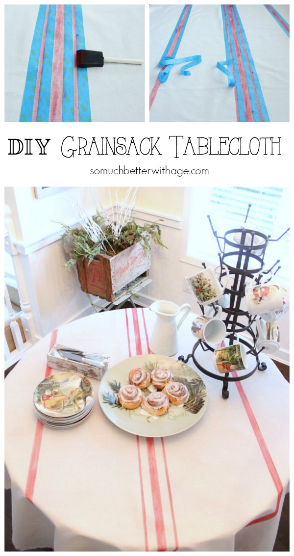 How to make a grain sack tablecloth DIY - So Much Better With Age