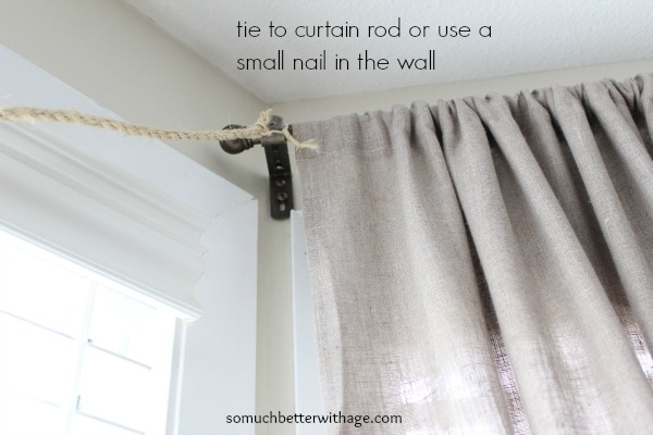 Easy Christmas garland / tying twine to a curtain rod - So Much Better With Age