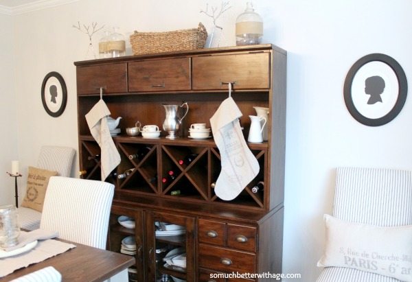 French Christmas Details / Pottery Barn cabinet - So Much Better With Age