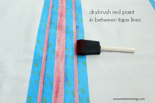 How to make a grain sack tablecloth DIY / dry brushing between the lines on linen - So Much Better With Age