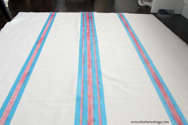 How to make a grain sack tablecloth DIY / red stripes - So Much Better With Age