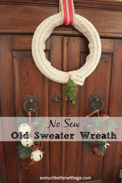 No sew wreath using sleeves of an old sweater - So Much Better With Age