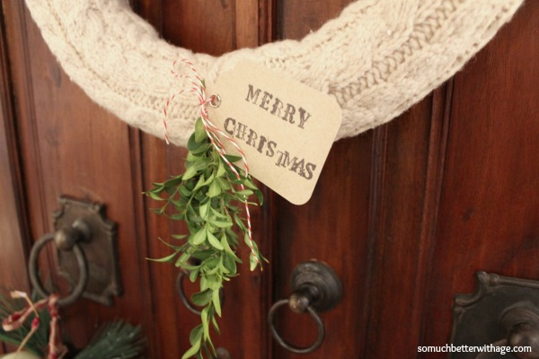 No sew wreath using sleeves of an old sweater / up close of wreath - So Much Better With Age