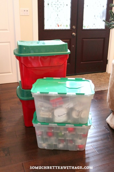Tree Ornament Organization / bins by the door for storage - So Much Better With Age
