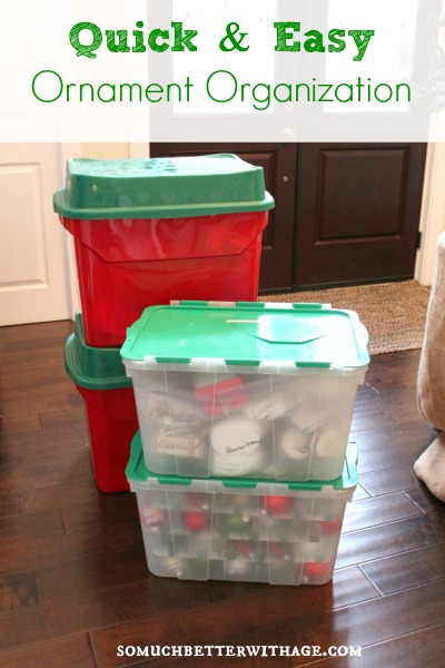 Quick and easy ornament organization by somuchbetterwithage.com