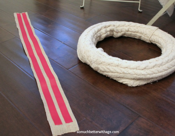 No sew wreath using sleeves of an old sweater / ribbon on the burlap - So Much Better With Age