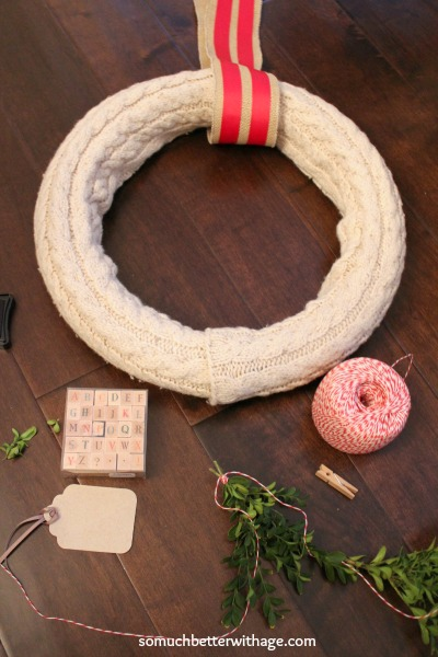 No sew wreath using sleeves of an old sweater / attaching the burlap strap - So Much Better With Age