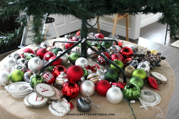 Tree Ornament Organization / all the Christmas balls under the tree - So Much Better With Age