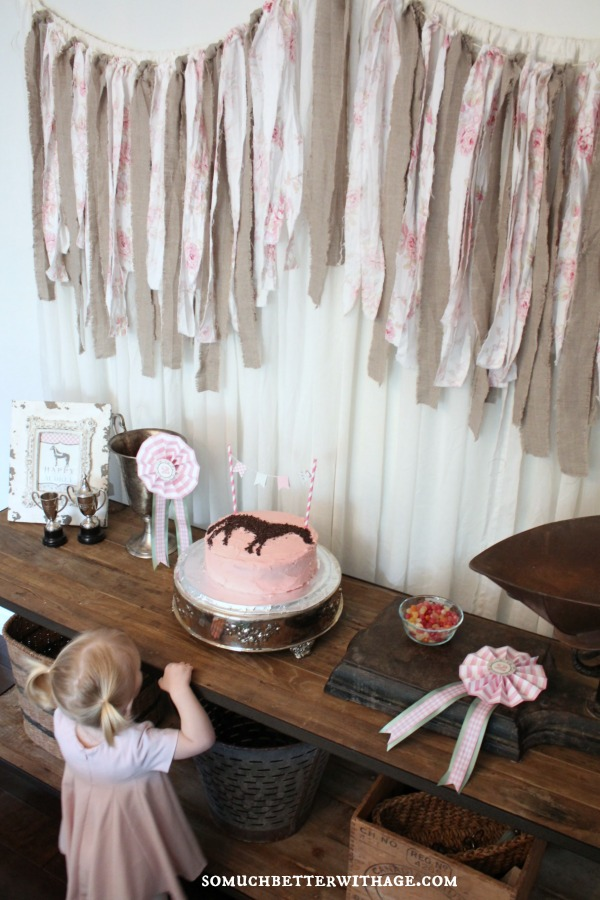 Vintage equestrian birthday party / little girl looking at the horse cake - So Much Better With Age