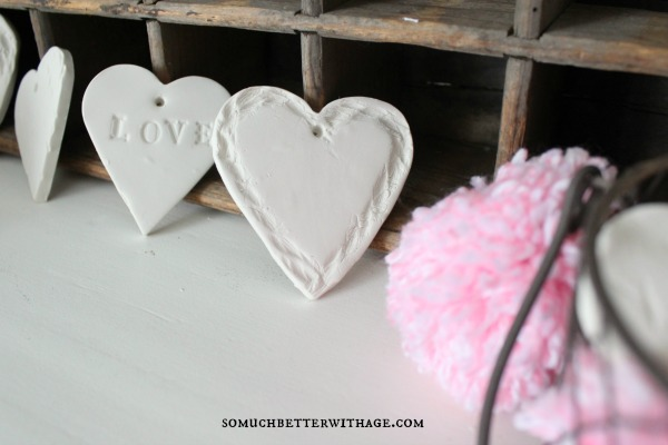 DIY Clay Valentine Hearts and Garland / twine and clay hearts - So Much Better With Age