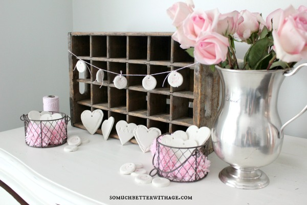 DIY Clay Valentine Hearts and Garland / clay tag banner - So Much Better With Age