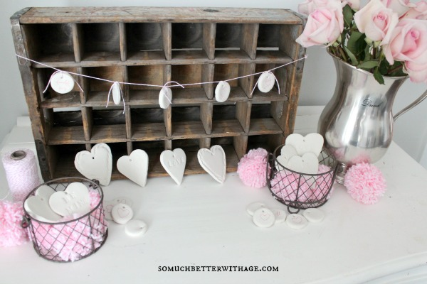 DIY Clay Valentine Hearts and Garland / banner and flowers - So Much Better With Age