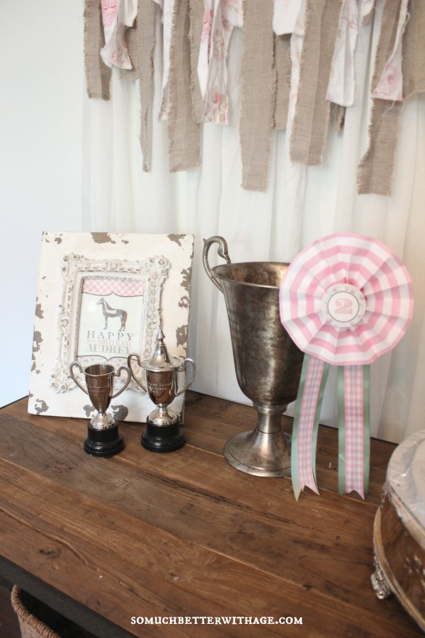 Vintage equestrian birthday party / trophies on table - So Much Better With Age