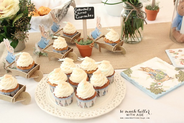 Beatrix potter party with napkins, cupcakes on a white plate.