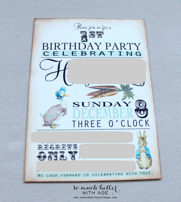Beatrix potter party invitations.