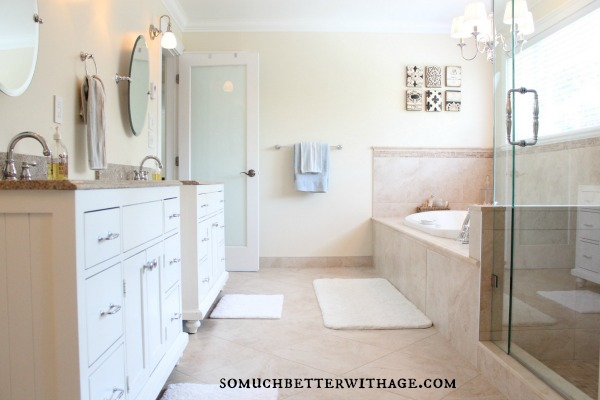 Real wood custom vanities for less / master bathroom picture - So Much Better With Age