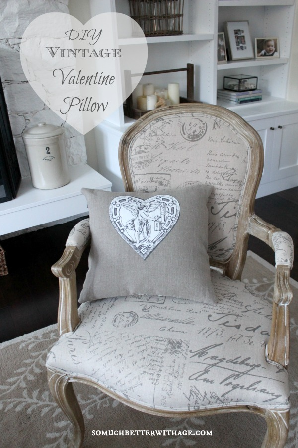 DIY vintage valentine pillow - So Much Better With Age