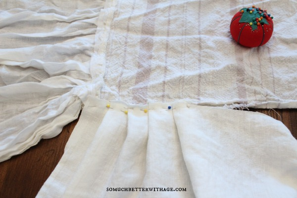 How to make a ruffled tablecloth / pinching and folding to make the ruffles - So Much Better With Age