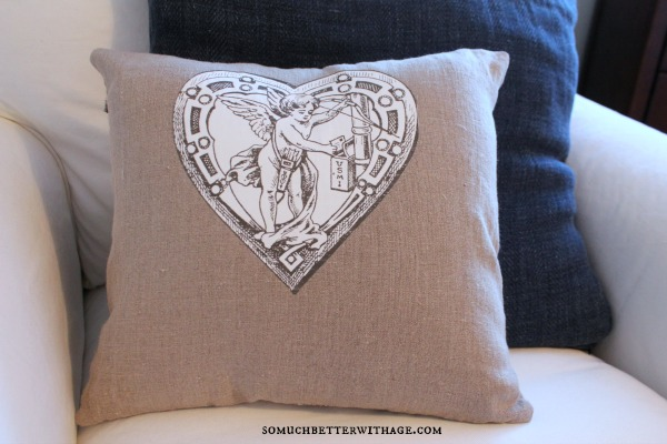 DIY vintage Valentine pillow / vintage cupid graphic - So Much Better With Age