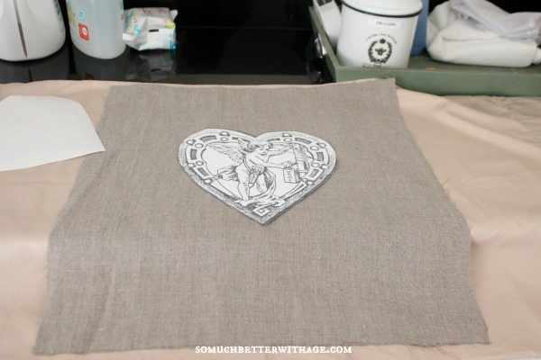 DIY vintage Valentine pillow / image on fabric - So Much Better With Age