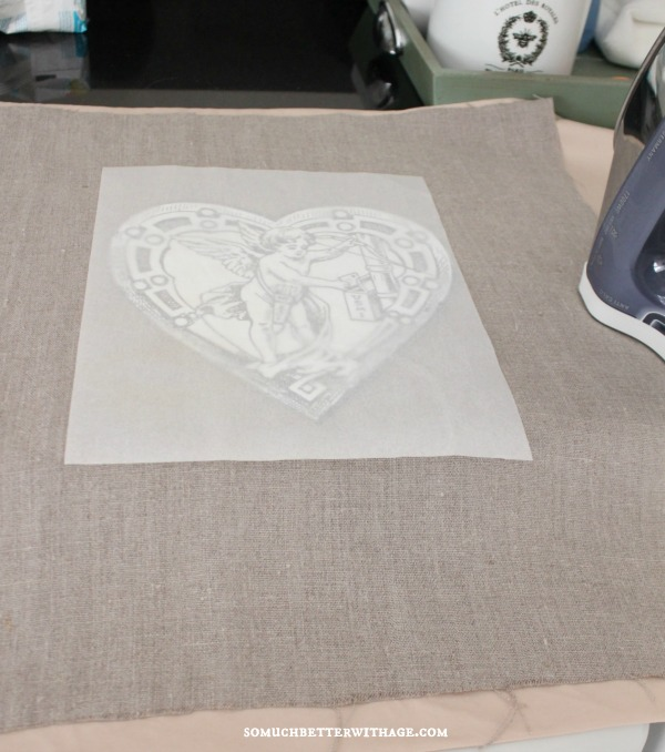 DIY vintage Valentine pillow / placing the parchment over the image - So Much Better With Age