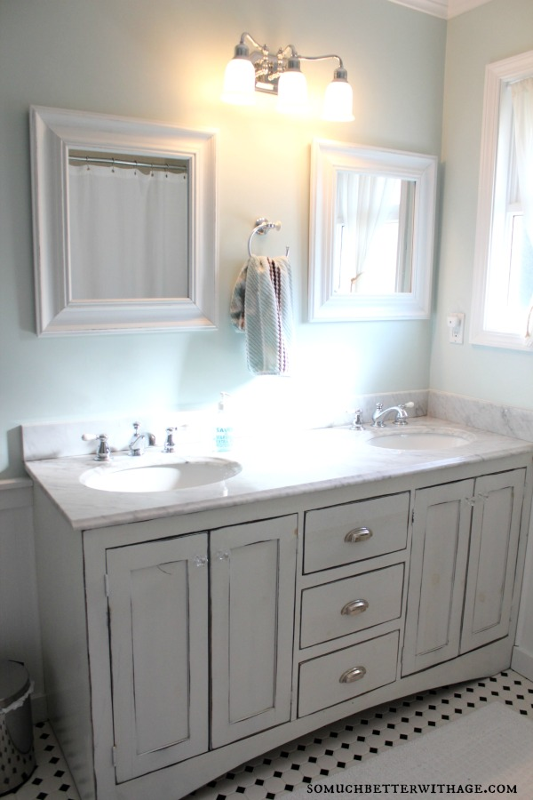 Distressed Bathroom Vanity Gray How To Paint A Bathroom