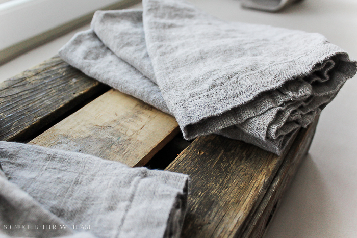 How to make your own linen napkins/beautiful beige linen fabric - So Much Better With Age