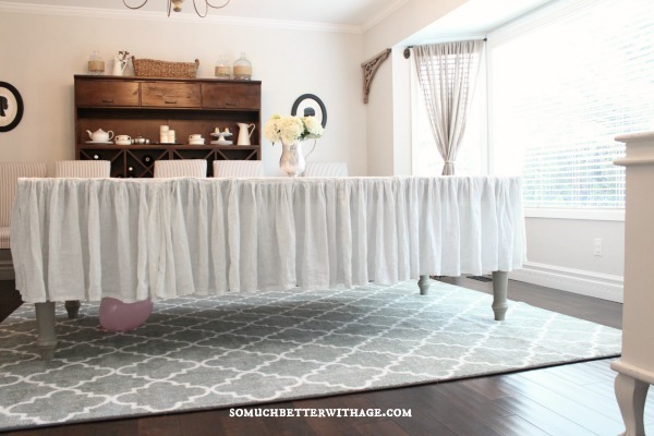 How to make a ruffled tablecloth / ruffled tablecloth all sewed on table in dining room - So Much Better With Age