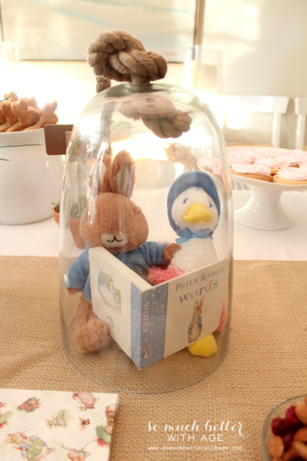 Peter rabbit and jemima puddle duck in a glass cloche reading a book.