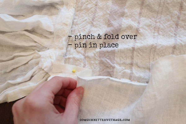How to make a ruffled tablecloth / pinching and folding the fabric - So Much Better With Age