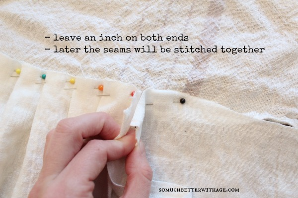 How to make a ruffled tablecloth / leaving an inch on both ends to stitch - So Much Better With Age