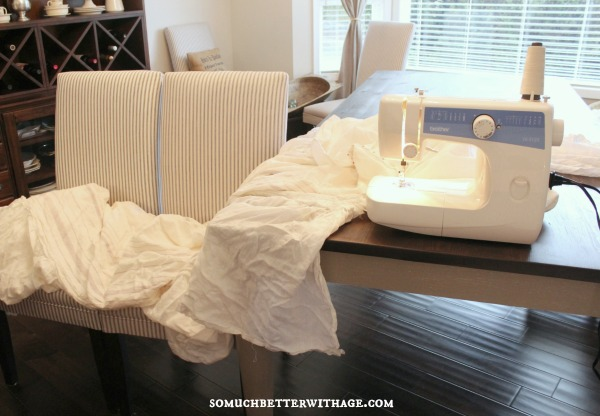 How to make a ruffled tablecloth / setting up the sewing machine - So Much Better With Age