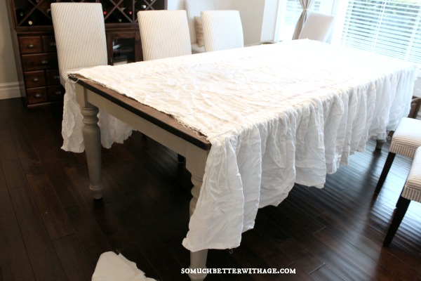 How to make a ruffled tablecloth / fitting the bedskirt on the table - So Much Better With Age