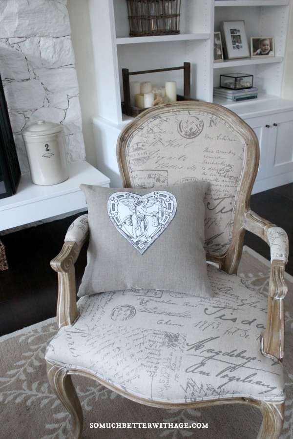 DIY vintage Valentine pillow / pillow with cupid on chair - So Much Better With Age