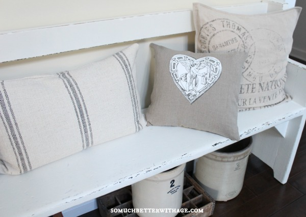 DIY vintage Valentine pillow / neutral pillow on chair - So Much Better With Age