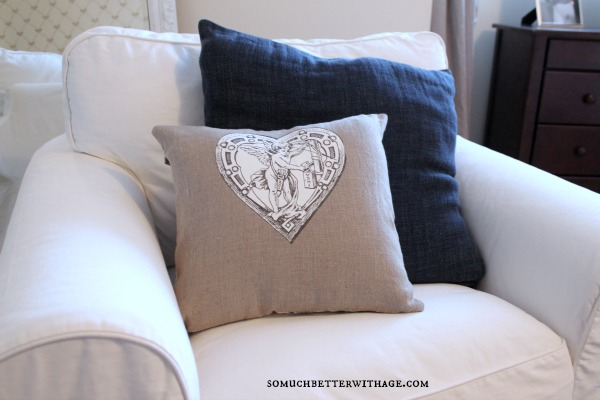 DIY vintage Valentine pillow / up close of graphic on pillow - So Much Better With Age
