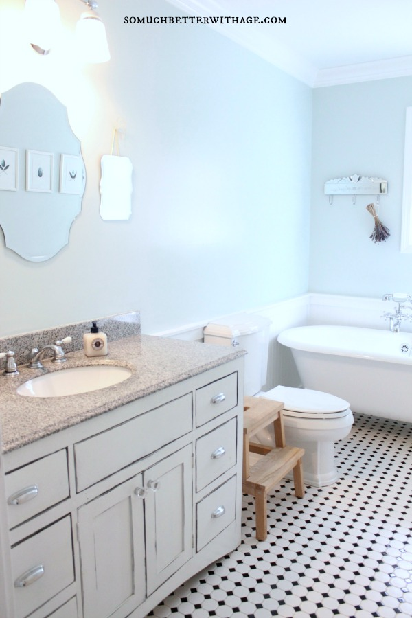 Real wood custom vanities for less / vintage bathroom with white and black floor - So Much Better With Age