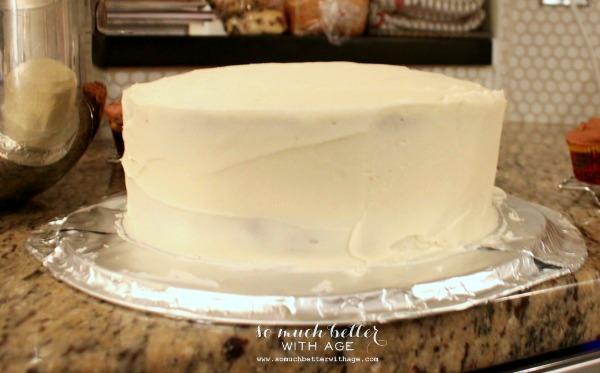 How to ice and decorate a cake like a pro / cake on counter - So Much Better With Age