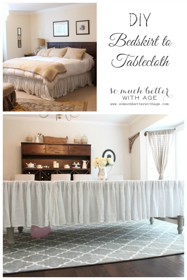 DIY bedskirt to tablecloth - So Much Better With Age