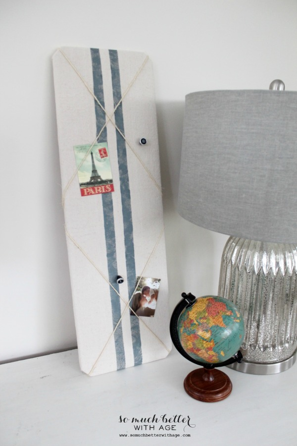 Faux grain sack bulletin board