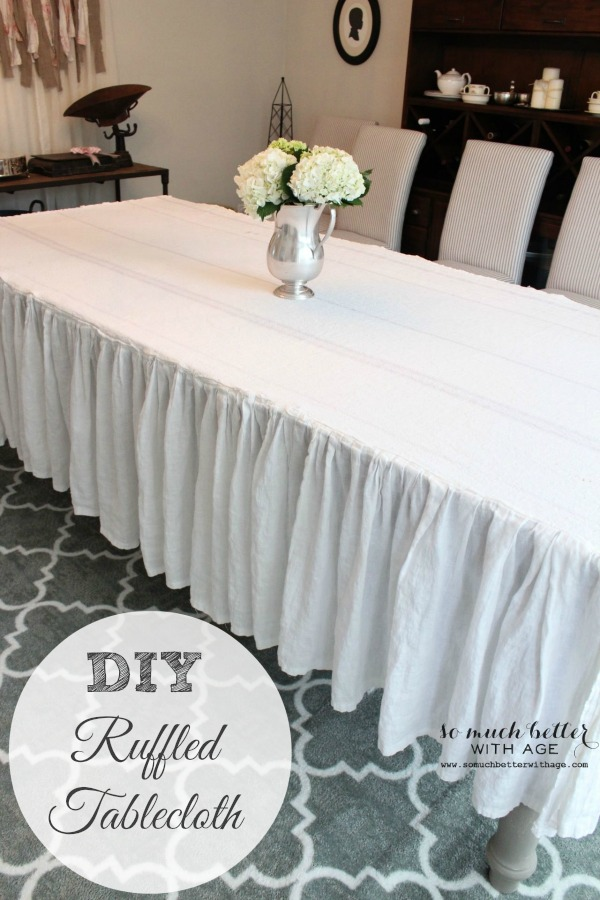 How to make a ruffled tablecloth by somuchbetterwithage.com