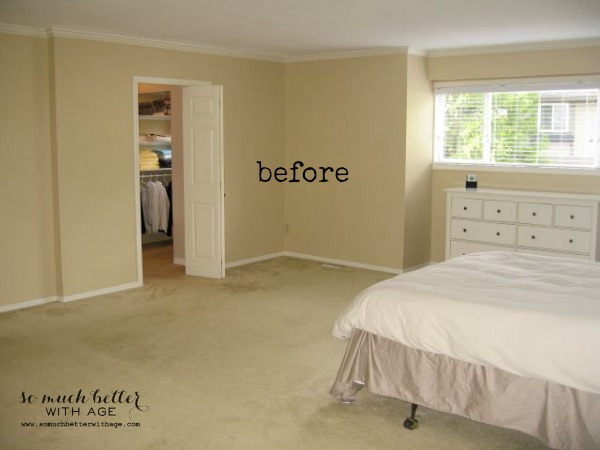 before / master bedroom style and floor plan via somuchbetterwithage.com