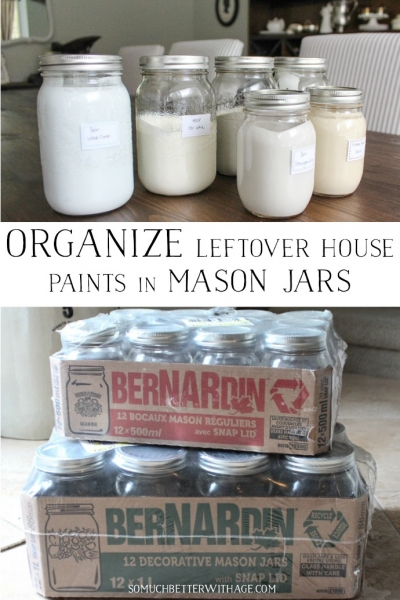 Organize Leftover House Paints in Mason Jars