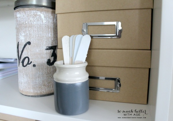 Organize Leftover House Paints in Mason Jars / popsicle sticks in crock - So Much Better With Age
