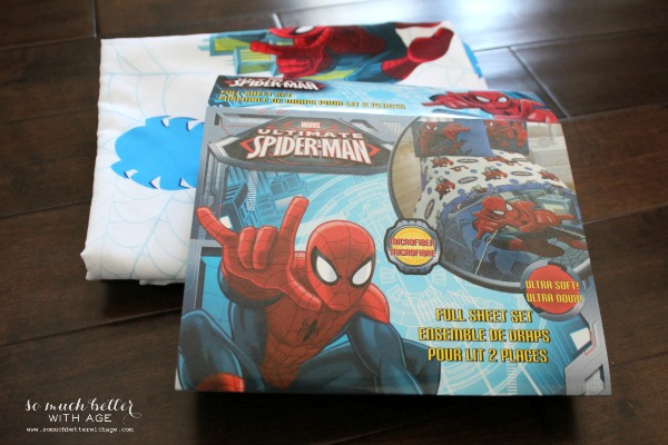 Spiderman sheet set as the tablecloth.