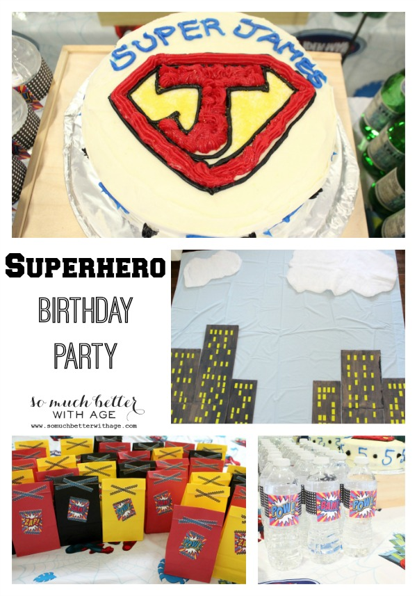 Superhero birthday party ideas poster with a cake, backdrop and gift bags.
