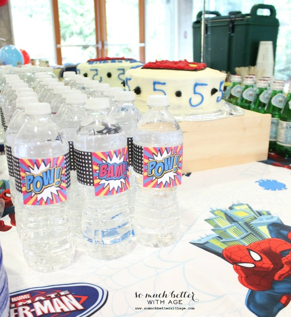 Water bottle labels / Superhero birthday party somuchbetterwithage.com