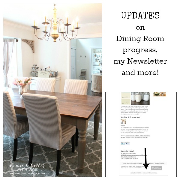 Updates on dining room progress, newsletter and more