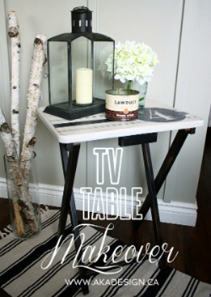 TV table makeover graphic.